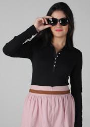 163-160 – Blusa Polo manga longa e vista gorgurão