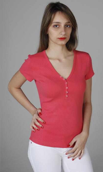 228 – T-shirt decote V com botões